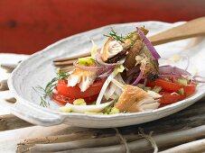Bornholm bread salad with a mackerel fillet