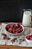 Homemade chocolate granola with seeds and nuts in a bowl and soya milk in the glass jar