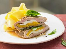 Stuffed veal chops with mango and mozzarella