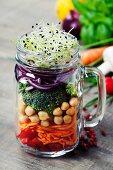 Healthy Homemade Mason Jar Salad with Chickpea and Veggies