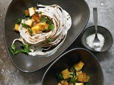 Spaghetti with herb soy cream and smoked tofu