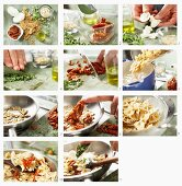 How to make pasta with mozzarella, dried tomatoes, oregano and pine nuts