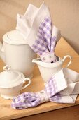Coffee service and hand-sewn linen napkins