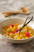 Fruit salad with vanilla pods