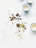 Jasmine tea with loose teas and spices