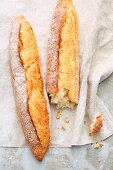 Classic baguettes made with wheat flour