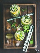 Citrus and herbs infused sassi water for detox, healthy eating, dieting in glass bottles in wooden tray