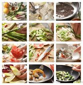 A salad with chicory, green asparagus, prawns and chia seeds being made
