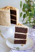Chocolate and peanut cake, sliced