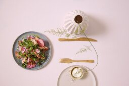 Potato and beetroot salad with smoked salmon and creamy horseradish
