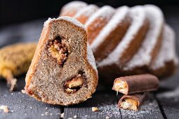 Gugelhupf with chocolate and caramel biscuit bars