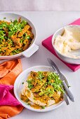Curried Sausages with Sour Cream Mash