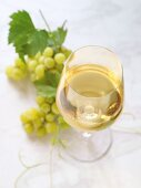 A glass of white wine in front of green grapes