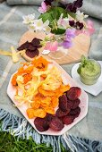 Vegetable crisps with lemon and watercress houmous for a picnic
