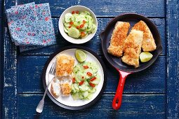 Cod in coconut with cucumber salad