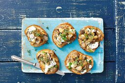 Crostini with oyster mushrooms and goat s cheese