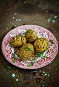 Hasselback potatoes with herbs and salt