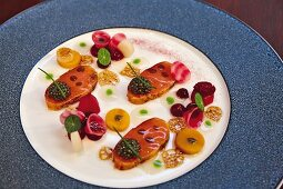 Marinated Arctic char with beetroot from Alfons Schuhbeck's 'Fine Dining im Boettners' restaurant in Munich, Germany