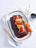 Coffee Syrup Cake with Poached Pears