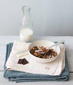 Gluten-free muesli with chocolate and milk