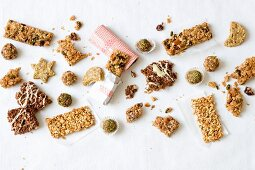 Various muesli bars and energy balls