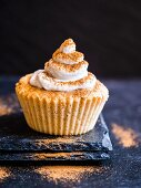 Gluten and sugar free almond flour muffin with whipped coconut cream