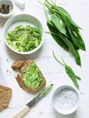 Spelt and sesame seed bread with wild garlic butter
