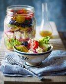 Greek feta salad in a jar