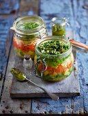 Pesto soup in a jar