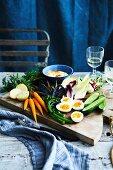 Huberts grand aioli, fresh vegetable and boiled eggs