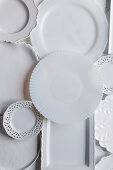 Various white porcelain plates and platters