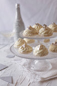 White chocolate sweets on a cake stand