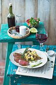 Saddle of lamb with aubergine and avocado