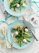 Grilled asparagus with quail eggs (Easter)