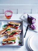 Emmental and saucisson baguette