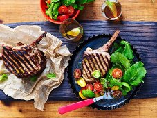 Veal cutlets with anchovy dressing