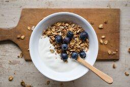 Yogurt with Muesli and Blueberries for Breakfast