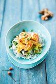 Shirataki noodles with shrimps and Kenya beans