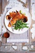 Honey and soya glazed rainbow trout