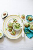 Cheese gougères with avocado and pea hummus