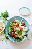 Celery and fennel salad with watermelon, almonds, parmesan and avocado dressing