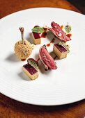 Pigeon, foie gras and hazelnut at the 'Winter Garden by Caino' in Florence, Italy