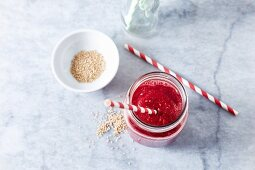 Strawberry smoothie with beetoot and sesame seeds