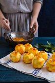 Peeled oranges for marmalade