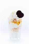 Frozen yoghurt with vanilla cake, almonds, honey, chocolate and cream
