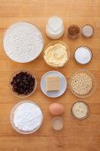 Ingredients for raisin and marzipan wheels