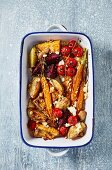 Oven baked vegetables with goat's cheese (top view)
