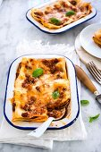Minced meat lasagne in a baking dish