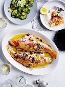 Baked golden trout with roe