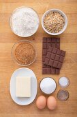 Ingredients for making cookies with chocolate